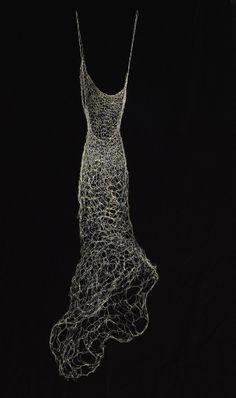"Susan Freda ~ ""Aurum Argentum"" Hand woven steel wire with resin and gold leaf   52x16x9 Wire Dress Sculpture http://susanfredastudios.com"