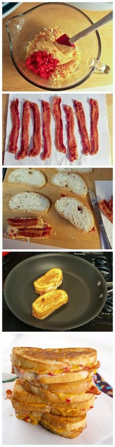 four cheese grilled pimento cheese and bacon sandwiches recipe