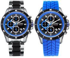 Jiusko Men's 65LSB08 Speedmaster Series Multifuntion Quartz Tachometer Chronograph Sports Black / Blue Watch