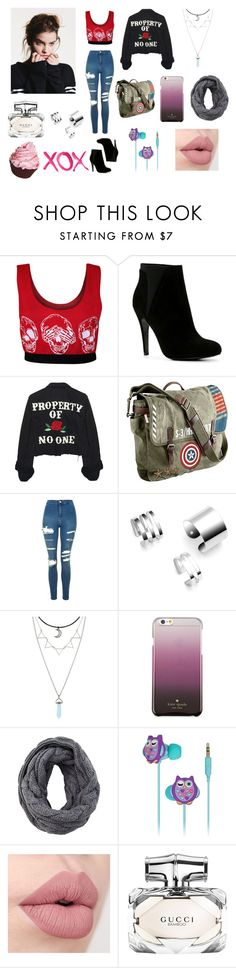 """XOX"" by samanthadanetti on Polyvore featuring moda, WearAll, ALDO, High Heels Suicide, Marvel, Topshop, Kate Spade, KitSound, Gucci y GALA"