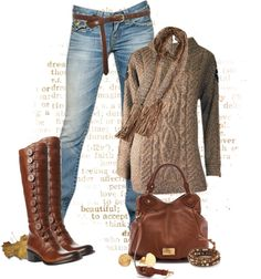 """Beautiful in Brown"" by johnna-cameron ❤ liked on Polyvore"
