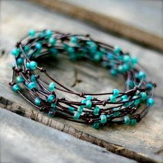 turquoise birds nest wrap bracelet. leather. seed beads. by maryann