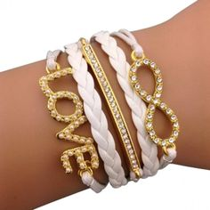 White Infinit Love Glam Arm Party Bracelet