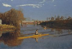 Thomas Eakins (American, 1844-1916). The Champion Single Sculls (Max Schmitt in a Single Scull), 1871. The Metropolitan Museum of Art, New York. Purchase, The Alfred N. Punnett Endowment Fund and George D. Pratt Gift, 1934 (34.92) | Returning to Philadelphia from Europe in 1870, Eakins began a series of representations of the sport of sculling, a subject with which he is uniquely identified. #OneMetManyWorlds