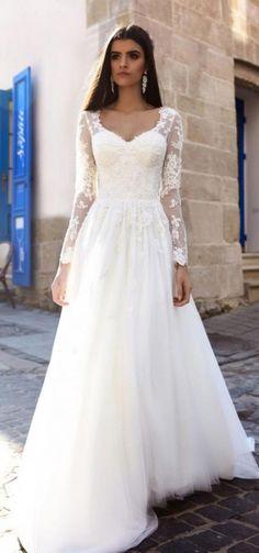 82704db37170 crystal design bridal 2016 sheer long sleeves v neck lace bodice corset  tulle skirt elegant modified a line weding dress chapel train (siena) mv --  Crystal ...