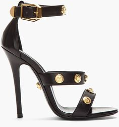 a51a4ccace9 S S 2013  Versace Black Leather Gold Medallion Heels €621   Lyst Versace