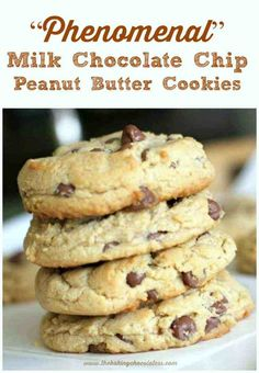 """""""Phenomenal"""" Milk Chocolate Chip Peanut Butter Cookies are soft, thick, and have milk chocolate chips galore. This easy to use heavenly, fudgy peanut butter cookies recipe is all you need to make any occasion special and memorable! Chocolate Peanut Butter Cookies, Chocolate Chips, Peanut Butter Chips, Peanut Butter Cookie Recipes, All Recipes Cookies, Vegan Peanut Butter Cookies, Easy Peanut Butter Cookies, Cookie Butter, Bar Recipes"""
