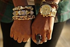 im starting to like this idea of chunky bracelet wear. If only my wrists weren't too tiny for bangles