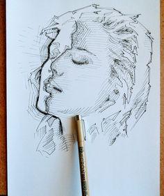 Portrait Ink via /r/Art. Cross Hatching, Portrait, A4, Drawings, Artist, Twitter, Headshot Photography, Artists, Portrait Paintings