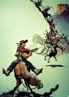 Frazetta, sountrack music album cover  for the MGM film Fastest Guitar in the West by Roy Orbison.