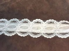 White Lace with White Ribbon Trim 1 3/16 inches   1 yard
