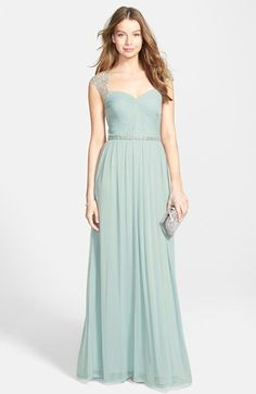1930s formal dress. Womens Hailey by Adrianna Papell Embellished Shirred Jersey Gown $199.00 AT vintagedancer.com