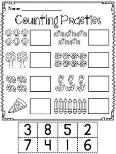 Winter Number Matching Worksheet for the numbers 5 to 10 (cut and ...