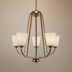 "Artcraft Hudson 24 1/2""W Vintage Brass 5-Light Chandelier"