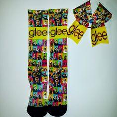 Glee socks and cheer bow set www.blingonthebows.com #glee #cheerbows #customsocks #cheerleader