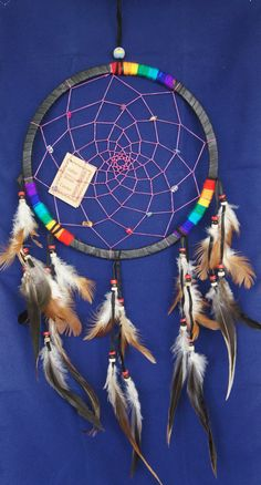 Hey, I found this really awesome Etsy listing at https://www.etsy.com/listing/196907549/large-black-rainbow-dream-catcher-8-dia