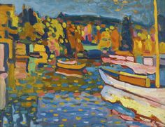Lot | Sotheby's - study for Autumn Landscape with Boats - Kandinsky