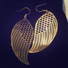 Gold filigree earrings. Lovely little leaf shaped, gold filigree earring. Brand new. Packaged. Only worn to model size. Lavishy Jewelry Earrings