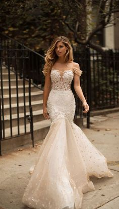 Off the shoulder sweetheart neckline nude tulle skirt mermaid wedding dress #wedding #weddingdress #millanova #weddinggown