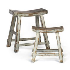 Elm Wooden Stools - Chinese Farmer Asian Timber Distressed Seat Wood