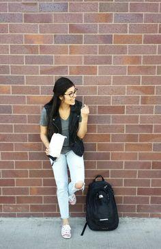Striped jeans, destroyed jeans , faux leather vest , boyfriend jeans,  school outfit