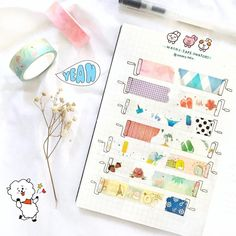 Creative Crafts 494973815293333261 - Are you a washi tape collector? Here are 20 different creative washi tape swatch layouts for you to use in your bullet journal! Diy Bullet Journal, Bullet Journal Washi Tape, Bullet Journal Banner, Bullet Journal Ideas Pages, Bullet Journal Spread, Bullet Journal Layout, Washi Tape Notebook, Washi Tape Planner, Bullet Journal Vocabulary