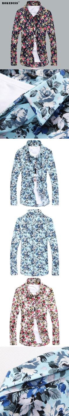 New Spring High Quality Fashion Men printing Shirt Turn-down Collar Casual Shirts Cotton Slim Fit Men printing Men Shirt Clothes