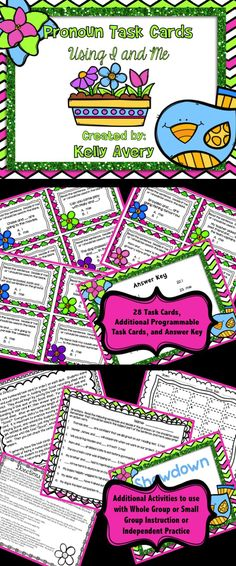 Pronouns:  Teaching students how to use the pronouns I and Me can be tricky; however, this set of pronoun task cards provides a variety of activities to help students master the grammar rules of using I and Me correctly!  Click here to see what other teachers have to say about this ELA resource!