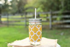 Monogrammed mason jar tumbler! Great bridesmaid gift and a stylish way to enjoy your favorite drink! Check out this item in my Etsy shop today!! #monogrameverything #monogramitall #bridesmaidgift  https://www.etsy.com/listing/216963469/personalized-mustard-quatrefoil-mason