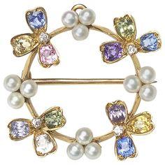 Tiffany and Co. Gem Set Pearl Pendant Brooch For Sale at Gemstone Brooch, Diamond Brooch, Pearl Brooch, Gems Jewelry, Pearl Jewelry, Jewelery, Vintage Brooches, Vintage Jewelry, Gold Brooches