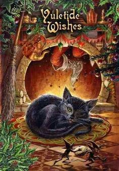 Greetings Card suitable for the winter solstice and Pagan festival of Yule. The message on the left inner panel reads 'Merry Yule'. The message is repeated, in smaller text, in several different languages. Christmas Cats, Winter Christmas, Winter Holidays, Vintage Christmas, Merry Christmas, Pagan Christmas, Christmas Time, Christmas Specials, Black Christmas