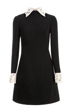 Back to school! Black long-sleeve dress with pale embroidered collar and cuffs by #Valentino