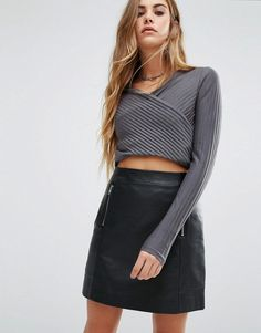 Buy it now. First & I Rib Wrap Crop Top - Grey. Top by First I, Ribbed jersey, V-neckline, Wrap front design, Long sleeves, Cropped length, Slim fit - cut close to the body, Machine wash, 100% Polyester, Our model wears a UK S/EU S/US XS. ABOUT FIRST I Head-turners, take note - First I is the brand you need to know, taking the latest trends and adding their own bohemian edge. We�re talking bold prints, bright colours and statement pieces, with dresses, cute crop tops and midi skirts…