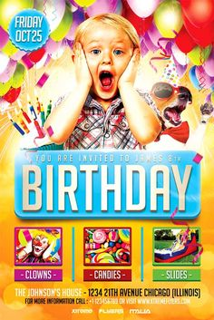 Kids Birthday Party Flyer Template - http://xtremeflyers.com/kids-birthday-party-flyer-template/ Kids Birthday Party Flyer Template PSD was designed to advertise a birthday celebration for your child.  #Bday, #Birthday, #Child, #Flyer, #Kids, #Party, #Poster, #Psd, #Template