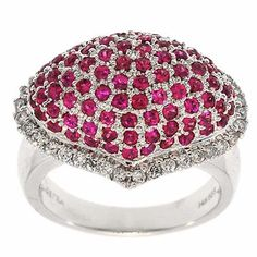 2.00 Cttw H SI1 Round Brilliant Cut Diamonds and Ruby Cocktail Ring in 14K White Gold by GetDiamondsDirect on Etsy