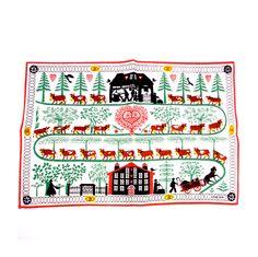 Swedish Christmas Decor, Vintage 1960s Folk Art Linen. via Etsy.