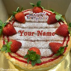 Best Strawberry Cake For Happy Birthday With Name Edit Special Birthday Wishes, Happy Birthday, Strawberry Birthday Cake, Cake Templates, Cake Name, Names, Desserts, Food, Happy Brithday