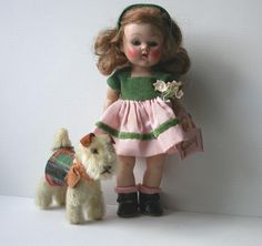 Vintage 1952 Vogue Strung Ginny Doll & Steiff Ginny Pup #DollswithClothingAccessories
