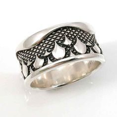Mens Sterling Silver Ring Industrial Rain by SwankMetalsmithing, $240.00