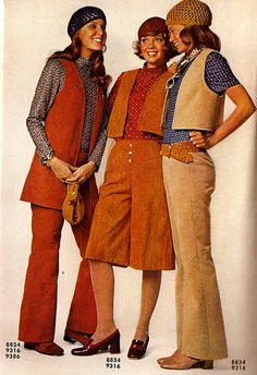 1970s fashion. Long and short vests, and check the hats!