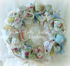 Shabby Chic Victorian Vintage Tea Cup and Teapot Bone China Wreath, Lefton Spaghetti Girl,