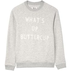 Zoe Karssen What'S&Nbsp;Up Buttercup Sweatshirt (£100) ❤ liked on Polyvore featuring tops, hoodies, sweatshirts, grey, gray sweatshirt, grey sweatshirt, grey sweat shirt, sweatshirt hoodies and zoe karssen