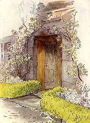 Watercolour of Hilltop farm by Beatrix Potter.