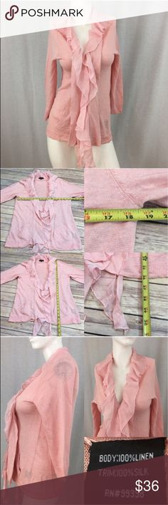 💛Sz Small Cardigan w/ Sheer Ruffles Randy Kemper Measurements are in photos. Normal wash wear, some light snags on the silk ruffles, no other flaws. B3/21  I do not comment to my buyers after purchases, due to their privacy. If you would like any reassurance after your purchase that I did receive your order, please feel free to comment on the listing and I will promptly respond.   I ship everyday and I always package safely. Thank you for shopping my closet! Randy Kemper Sweaters Cardigans