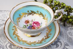 Paragon Tea Cup and Saucer Seafoam Blue Teacup by PinkDahliaStudio, $39.00    omg i ADORE this!!!!!