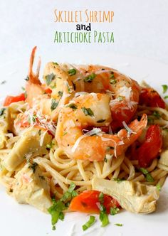 This amazing shrimp and pasta dinner all in one skillet! Healthy eating never tasted so good!