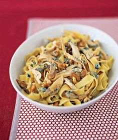 Super easy Chicken Pasta with Blue Cheese and Walnuts (shredded rotisserie chicken, hot pasta, crumbled blue cheese, chopped walnuts-done)