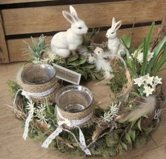 Easter Decor - Table Wreath * Easter Bunny Mum with Child * - a unique product by KRANZu .- Osterdeko – Tischkranz *Osterhasenmama mit Kind* – ein Designerstück von KRANZu… Easter decoration – table wreath * Easter bunny mum with child * – a … - Spring Decoration, Flower Decoration, Easter Table Decorations, Easter Decor, Easter Centerpiece, Easter Flowers, Easter Colors, Deco Floral, Easter Celebration