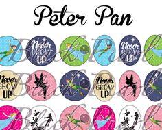 ° Peter Pan °  - Planche numérique digitale pour cabochons - 60 images à imprimer