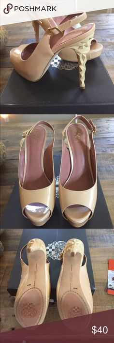 Vince Camuto nude high heel studded pump Size 8. Nude patent peep toe pump. Brand new-have worn around the house but just to high for me. The heel has a cool look to it-zoom in for a closer look! Vince Camuto Shoes